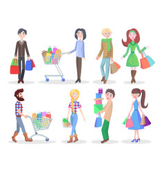 Shopping people flat characters set vector