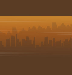 silhouette of city with fog bad environment vector image