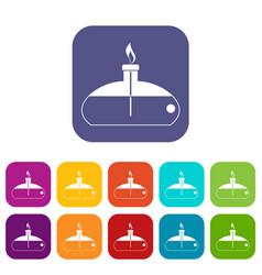 Spiritlamp icons set flat vector