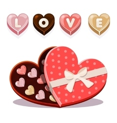 Sweets for valentine s day in heart shaped vector