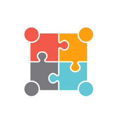 Teamwork people four puzzle persons design vector