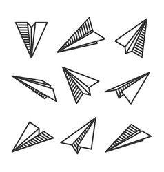 various hand drawn paper planes black doodle vector image