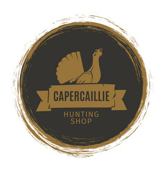 Vintage hunting shop emblem with turkey vector