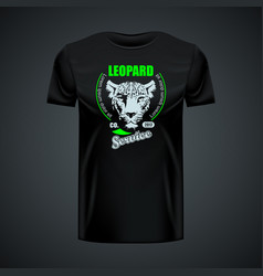 vintage t-shirt with stylish leopard logo in vector image