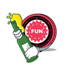 With beer funfair coin mascot cartoon vector