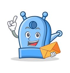 With envelope pencil sharpener character cartoon vector