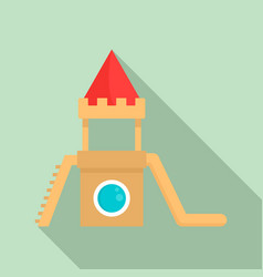wood kid castle icon flat style vector image