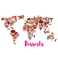 World map cake cupcake donut candy desserts vector