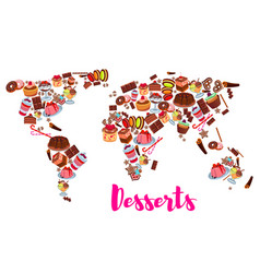 world map of cake cupcake donut candy desserts vector image