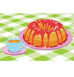 Cake with glaze and a cup of hot drink vector image