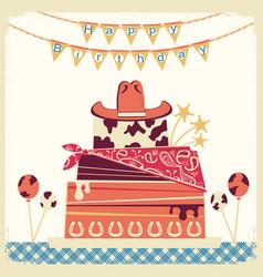 cowboy happy birthday card with cake and cowboy vector image vector image