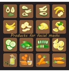 Products for homemade facial mask vector image vector image