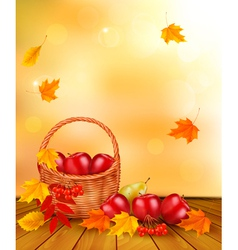 Autumn background with fresh fruit in basket vector image