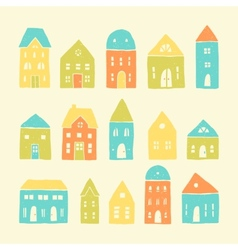 Colorful cartoon houses vector image