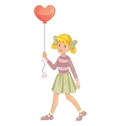 Girl with balloon in shape of heart in hand vector image