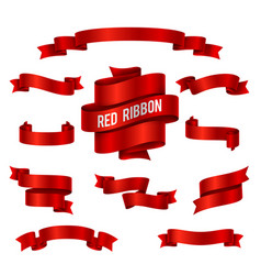 Holiday red glossy ribbon banners set for vector