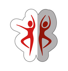 red people dancing together icon vector image