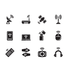 Silhouette Wireless and communication technology vector image