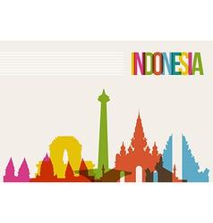 Travel Indonesia destination landmarks skyline vector image vector image