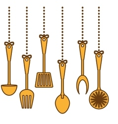 yellow kitchen utensils icon image vector image
