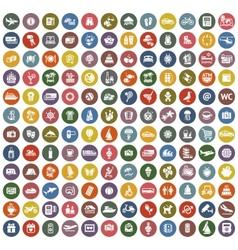 144 icons retro color vector
