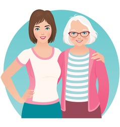 Adult daughter and elderly mother vector image