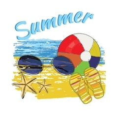 background summer with letteringball sunglasses vector image vector image