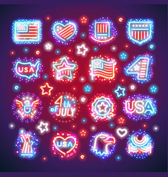 fourth of july signs with sparkles vector image