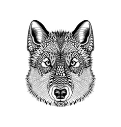 Zentangle stylized Wolf face Hand Drawn Guata vector image