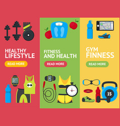 cartoon fitness sport banner vecrtical set vector image vector image