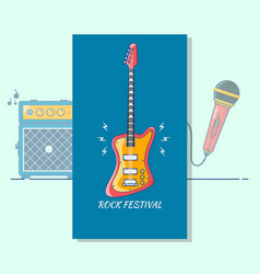 electric guitar music festivalmodern color thin vector image
