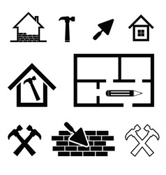 house work tool set in black color vector image vector image
