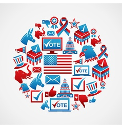 US elections icons circle vector image