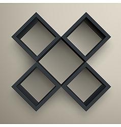 3d isolated empty black bookshelf vector image vector image