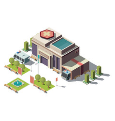 3d isometric hospital ambulance with vector image