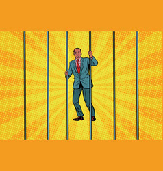 African businessman in jail behind bars vector