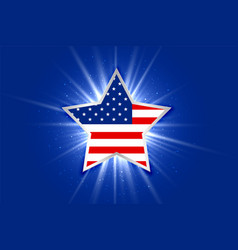 american flag inside a glowing star background vector image