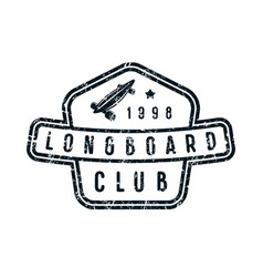 badge of longboard club vector image