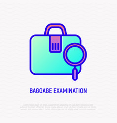 baggage examination thin line icon vector image