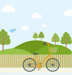 Beautiful simple cartoon meadow with orange racing vector