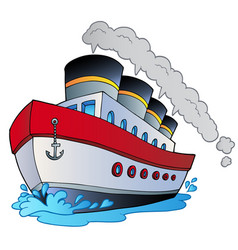 Big cartoon steamship vector