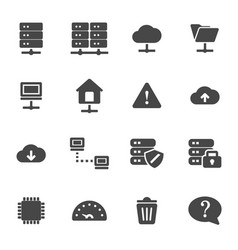 black ftp icons set vector image