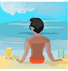 boy is watching to the sea with two glasses on the vector image