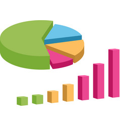 Business data market elements pie chart diagram vector