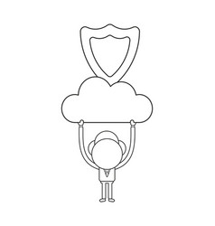 businessman character holding up cloud with guard vector image