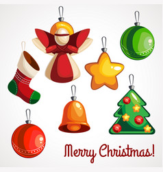 cartoon colored toys for christmas tree of vector image