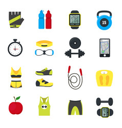 Cartoon fitness sport tools icons set vector