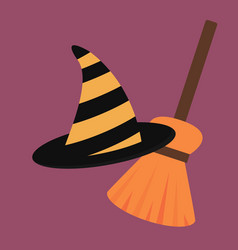 Cartoon halloween witch hat antasy scary vector