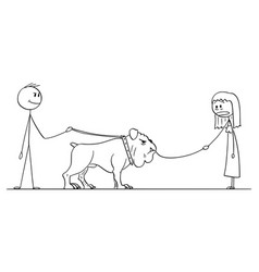 cartoon man with big dog who eat small dog on vector image