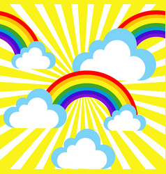 cartoon sky with rainbows and clouds vector image